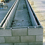 Concrete Block Bins on Feed Pad